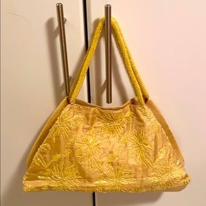 MOYNA silk beaded floral yellow gold purse New